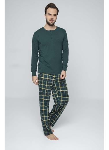 Aydoğan Erkek Modal Yeşil Altı Ekoseli Üstü Düz Pijama Takımı Renkli